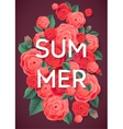 Summer Pink Roses and Green Leaves on Dark vector image vector image