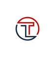 t letter circle line logo icon design vector image vector image