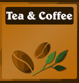 table in the supermarket with the image of tea vector image vector image