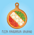 the real pizza margherita italiano on wooden board vector image vector image