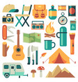 tourists equipment and travel accessories vector image vector image
