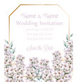 white lavender wedding card bouquet watercolor vector image vector image