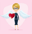 cute little angel valentine greeting card vector image