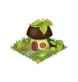 isometric cartoon fantasy mushroom village house vector image