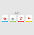 4 holiday flat icons set isolated on infographic vector image vector image