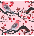Birds and cherry tree seamless vector image