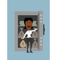 Black businesswoman opening bank safe vector image vector image