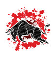 bull charging bull attack graphic vector image