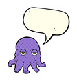 cartoon alien squid face with speech bubble vector image