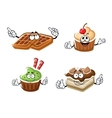Cartoon cupcakes cake and belgian waffle vector image vector image