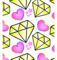 cartoon hearts and diamonds pattern vector image