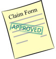 claim form with stamp approved vector image vector image