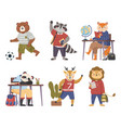 collection funny animals students cartoon vector image vector image
