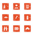 cool fishing icons set grunge style vector image vector image