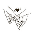couple in love hold hands engraving vector image vector image