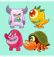 cute and funny monsters set vector image vector image