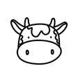 cute cow face livestock farm animal cartoon thick vector image