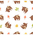 cute seamless pattern with funny forest badgers vector image vector image