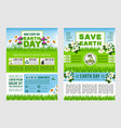 earth day save planet information poster template vector image