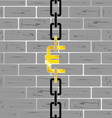euro on brick wall vector image