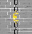euro on brick wall vector image vector image