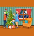 family christmas evening scene vector image