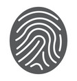 finger print glyph icon development and business vector image vector image