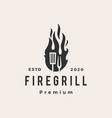 fire flame grill spatula fork hipster vintage vector image vector image