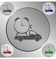 Flat paper cut style icon of vehicle vector image vector image
