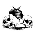 geisha skull with vintage vector image vector image