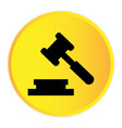 hammer judge icon yellow circle frame background v vector image