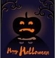 Happy Halloween card with pumpkin vector image