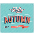 Hello autumn typographic design vector image vector image