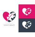 herbal logo pharmacy icon leaf in heart vector image vector image