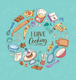 i love cooking poster vector image vector image