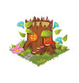 isometric cartoon fantasy tree stump village vector image vector image