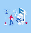 isometric online express free fast delivery vector image vector image