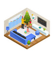 isometric winter family holiday concept vector image vector image