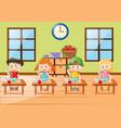 kids eating breakfast together vector image