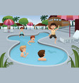 kids playing in an outdoor swimming pool vector image vector image
