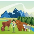 Landscape with forest animals design mountain vector image
