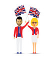 man and woman waving the uk flag vector image