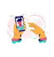 man hold smartphone using video calling vector image vector image