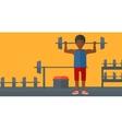 Man lifting barbell vector image vector image