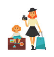 mother and daughter go for traveling isolated vector image vector image