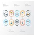 multimedia icons colored line set with volume up vector image