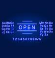 neon welcome open signboard on brick wall vector image vector image