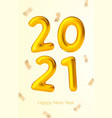 new year golden balloons with number 2021 vector image vector image