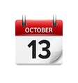 October 13 flat daily calendar icon Date vector image vector image