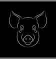 outline stylized pig portrait on black vector image vector image